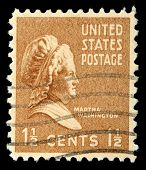 USA - CIRCA 1938: A stamp shows portrait Martha Dandridge Custis Washington (June 2, 1731 - May 22,