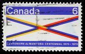 CANADA - CIRCA 1970: A stamp printed in Canada honoring Manitoba Centennial, circa 1970