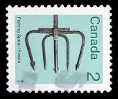 CANADA - CIRCA 1982: A stamp printed in Canada dedicated to the Spearfishing, circa 1982.
