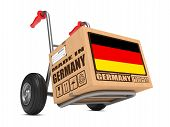 Made in Germany - Cardboard Box on Hand Truck.