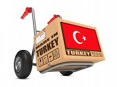 Made in Turkey - Cardboard Box on Hand Truck.