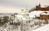 stock photo of prophets  - Winter december view of Church Elijah the Prophet and Kremlin Nizhny Novgorod Russia - JPG