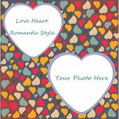 Love Heart Photo Frame Valentines Day Design trendy colors with transparent place shape in vector