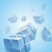 Flying blue transparent cubes background
