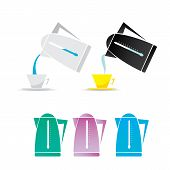 vector electric kettle icon set.