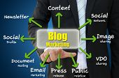Business hand pointing blog marketing concept