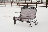 Metal Bench In Backyard Snow