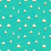 Nautical pattern with small boats on waves