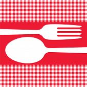 Cutlery Silhouettes On Red Tablecloth
