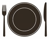 pic of diners  - Place setting with plate knife and fork  - JPG
