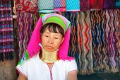 MAE HONG SON, THAILAND - DECEMBER 4: Unidentified Karen tribal woman near Mae Hong Son, Thailand, Ch