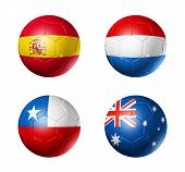 Spain, Netherlands, Chile, Australia, Flags On Soccer Balls