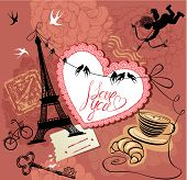 Vintage Valentine's Day Postcard With Paris Theme - Effel Tower, Heart, Angel And Calligraphy Text I