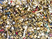 PARIS - DEC 6: Love Padlocks at Pont de l'Archevche on December 6, 2013, in Paris. The thousands of