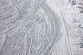 Ski Traces On A Snow On The Mountain Slope