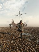 picture of raid  - Viking warriors raiding the coast from their beached longship - JPG