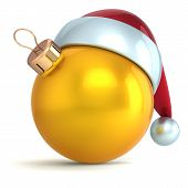 Christmas ball ornament New Year bauble decoration gold yellow Santa hat icon