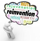 stock photo of rebuilt  - Reinvention Change New Start Thought Cloud Thinker - JPG