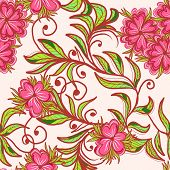Seamless Hand Drawn Floral Pattern With Pink Flower