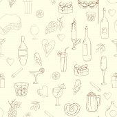 Wine and coctail seamless background. Holiday pattern with love hearts, wine, grapes, chees, bear an