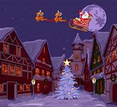 Santa Claus flying his sleigh over Christmas town