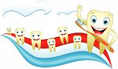 Healthy Happy Tooth With Toothbrush