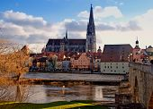 Regensburg (Bavaria, Germany) And Danube River