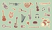 Stickers of musical instruments