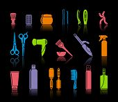 picture of hairspray  - Vector image set Of Hairdressing Accessories and means for care of hair - JPG