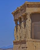 Caryatids and erechtheion temple, Athens Greece
