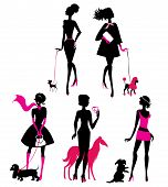 Set Of Black Silhouettes Of Fashionable Girls With Their Pets - Dogs (dachshund, Terrier, Poodle, Ch