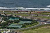 Several tennis court by seaside in Durban city