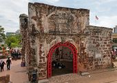 The Ruined Gates Of  Portuguese Fort A Famosa, Porta De Santiago. Malacca