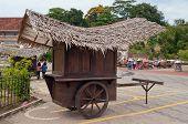 Wodden Cart At Portuguese Fort A Famosa, Porta De Santiago. Malacca