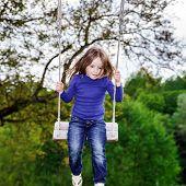 Cute Little Girl Swinging On Seesaw