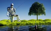 Robot fishing on the shore.