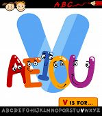 Letter V With Vowels Cartoon Illustration
