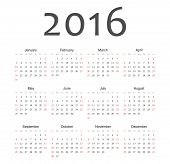 Simple European 2016 Year Vector Calendar