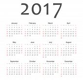 Simple European 2017 Year Vector Calendar