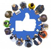 People Social Networking and Thumbs Up Symbol