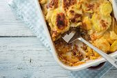 Moussaka, potato-based dish popular in Balkan and Mediterranean cuisines