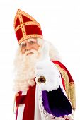 Sinterklaas portrait.Thumbs up. Isolated on white background. Dutch character of Santa Claus