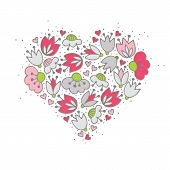 colorful pink gray flowers and hearts in heart shape on white