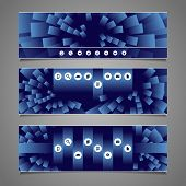 Web Design Elements - Blue Abstract Header Design with Squares