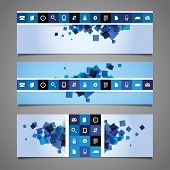 Web Design Elements - Blue Abstract Header Design with Tiles