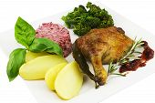Roast Duck With Potato, Green Leaves, Beet Salat, Sprouting Broccoli, Cranberry Sauce
