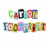 foto of carbon-footprint  - Illustration depicting a set of cut out printed letters arranged to form the words carbon footprint - JPG