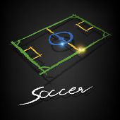 Soccer Pitch Drawing On A Blackboard