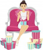 Illustration of a Woman Opening the Gifts from Her Bridal Shower
