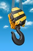 Crane Hook On The Sky Background. 3D